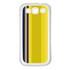 Yellow Blue Background Stripes Samsung Galaxy S3 Back Case (White)