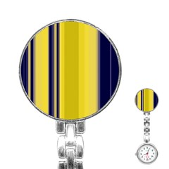 Yellow Blue Background Stripes Stainless Steel Nurses Watch