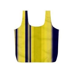 Yellow Blue Background Stripes Full Print Recycle Bags (S)