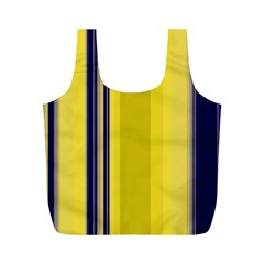 Yellow Blue Background Stripes Full Print Recycle Bags (M)