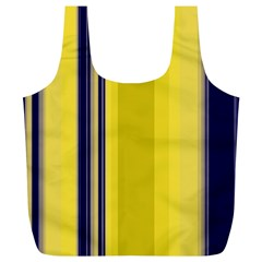 Yellow Blue Background Stripes Full Print Recycle Bags (L)