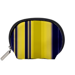 Yellow Blue Background Stripes Accessory Pouches (Small)