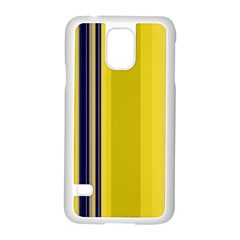 Yellow Blue Background Stripes Samsung Galaxy S5 Case (White)