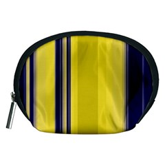 Yellow Blue Background Stripes Accessory Pouches (Medium)