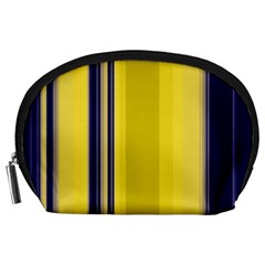 Yellow Blue Background Stripes Accessory Pouches (Large)