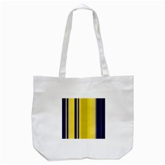 Yellow Blue Background Stripes Tote Bag (White)