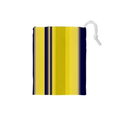 Yellow Blue Background Stripes Drawstring Pouches (Small)
