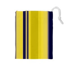 Yellow Blue Background Stripes Drawstring Pouches (Large)