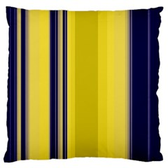 Yellow Blue Background Stripes Large Flano Cushion Case (Two Sides)