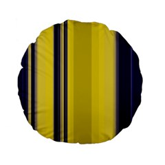 Yellow Blue Background Stripes Standard 15  Premium Flano Round Cushions