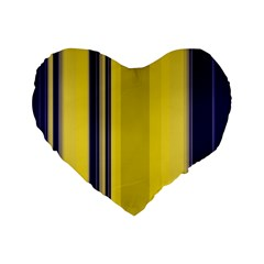 Yellow Blue Background Stripes Standard 16  Premium Flano Heart Shape Cushions