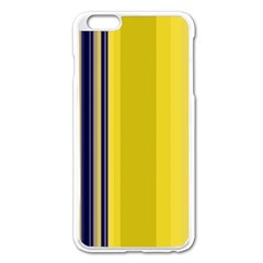 Yellow Blue Background Stripes Apple iPhone 6 Plus/6S Plus Enamel White Case