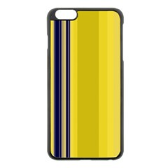 Yellow Blue Background Stripes Apple iPhone 6 Plus/6S Plus Black Enamel Case