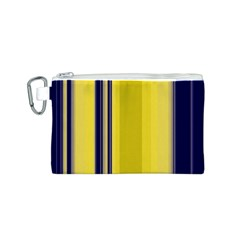 Yellow Blue Background Stripes Canvas Cosmetic Bag (S)