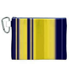 Yellow Blue Background Stripes Canvas Cosmetic Bag (XL)
