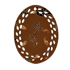 Brown Forms Oval Filigree Ornament (two Sides)