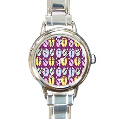 Baby Feet Patterned Backing Paper Pattern Round Italian Charm Watch