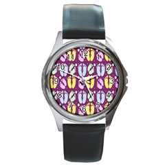 Baby Feet Patterned Backing Paper Pattern Round Metal Watch
