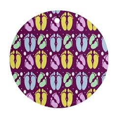Baby Feet Patterned Backing Paper Pattern Ornament (round)