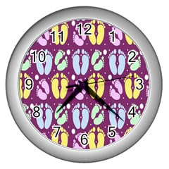Baby Feet Patterned Backing Paper Pattern Wall Clocks (Silver)