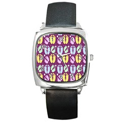 Baby Feet Patterned Backing Paper Pattern Square Metal Watch