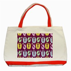 Baby Feet Patterned Backing Paper Pattern Classic Tote Bag (Red)