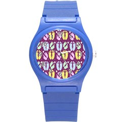 Baby Feet Patterned Backing Paper Pattern Round Plastic Sport Watch (S)