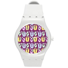 Baby Feet Patterned Backing Paper Pattern Round Plastic Sport Watch (M)