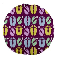 Baby Feet Patterned Backing Paper Pattern Large 18  Premium Round Cushions