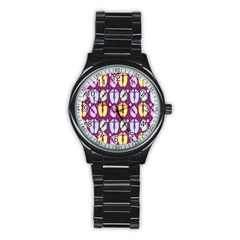 Baby Feet Patterned Backing Paper Pattern Stainless Steel Round Watch