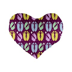 Baby Feet Patterned Backing Paper Pattern Standard 16  Premium Flano Heart Shape Cushions