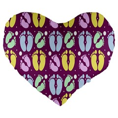Baby Feet Patterned Backing Paper Pattern Large 19  Premium Flano Heart Shape Cushions