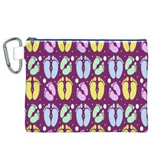 Baby Feet Patterned Backing Paper Pattern Canvas Cosmetic Bag (XL)