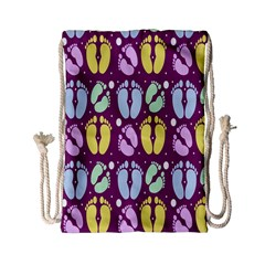 Baby Feet Patterned Backing Paper Pattern Drawstring Bag (Small)