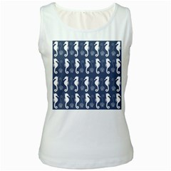 Seahorse And Shell Pattern Women s White Tank Top