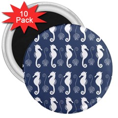 Seahorse And Shell Pattern 3  Magnets (10 pack)