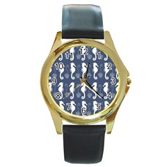 Seahorse And Shell Pattern Round Gold Metal Watch