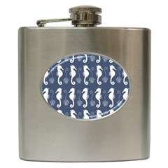 Seahorse And Shell Pattern Hip Flask (6 oz)