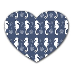 Seahorse And Shell Pattern Heart Mousepads