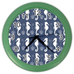 Seahorse And Shell Pattern Color Wall Clocks