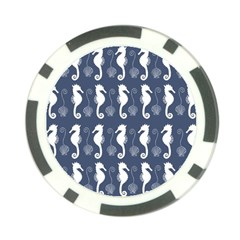 Seahorse And Shell Pattern Poker Chip Card Guard
