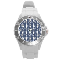 Seahorse And Shell Pattern Round Plastic Sport Watch (L)