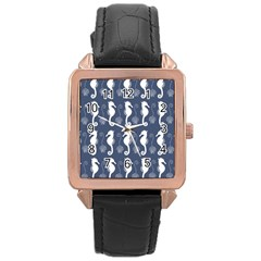 Seahorse And Shell Pattern Rose Gold Leather Watch