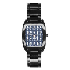 Seahorse And Shell Pattern Stainless Steel Barrel Watch