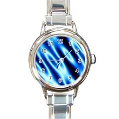 Grunge Blue White Pattern Background Round Italian Charm Watch