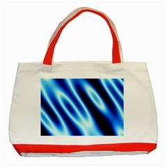 Grunge Blue White Pattern Background Classic Tote Bag (Red)