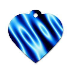 Grunge Blue White Pattern Background Dog Tag Heart (one Side)