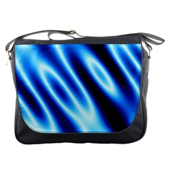 Grunge Blue White Pattern Background Messenger Bags