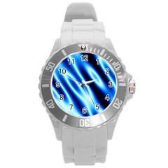 Grunge Blue White Pattern Background Round Plastic Sport Watch (l)