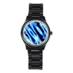 Grunge Blue White Pattern Background Stainless Steel Round Watch